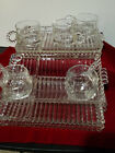 Hazel Atlas Candlewick Vintage Glass Luncheon plates set of 5 Plates and Cups