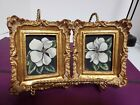 Pair Vintage Hand Made Italy? Gilt gold Rococo Frames hand painted flowers signd