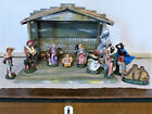 ANTIQUE Vintage ITALY LARGE PAPER MACHE Christmas NATIVITY SET Manger 2