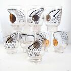 Vintage Mid Century Modern Glasses Set Atomic Hyperloop Stockholm Black 24k Gold