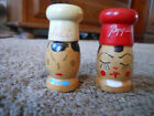 SMALL OLD WOODEN SALT AND PEPPER SHAKERS WITH HANDPAINTED FACES CHEF HATS