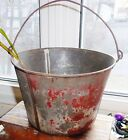ANTIQUE TIN PAIL Traces Old Red Paint BALE HANDLED Large