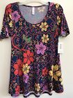 Lularoe Perfect T NEW WITH TAGS XS TOP Blue Orange Yellow Lilac Floral Tunic