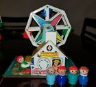 VINTAGE FISHER PRICE LITTLE PEOPLE LOT FERRIS WHEEL PLAYS WELL