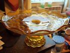 VINTAGE AMBER GLASS PEDESTAL CAKE/ COOKIE PLATE