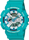 Casio G Shock GA110SN-3A Men's Teal Resin Band Watch With Multi-Color Face