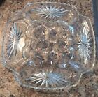 Crystal Cut Glass Stars Deviled Egg Tray Dish Mid Century Square Hors D'oeuvres