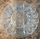 Glass Clear Deviled Egg Tray Dish Mid Century Round Hors D'oeuvres Dips Nice VTG