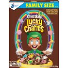 NEW GENERAL MILLS FAMILY SIZE CHOCOLATE LUCKY CHARMS CEREAL19.5 OZ BOX MARSHMAL