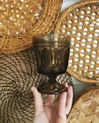 Vintage Set Of 4 Gray Charcoal Pressed Glass Mid Century Glasses Cups Chalice