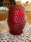VTG Indiana Glass Ruby Red Flash Diamond Point Fairy Glo Candle Lamp