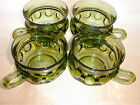 4 Green Thumbprint Snack Coffee Cups Indiana Glass Kings Crown Avocado