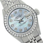 Rolex Lady Datejust 6917 26mm Steel Watch Ice Blue Mother of Pearl with Diamonds