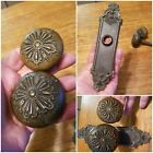 Antique Door Knob Set and Backplate Bronze or Brass Doorknobs Vintage Hardware