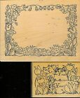 STAMPA BARBARA Rubber Stamp CATS IN FLOWERS AND FLORAL FRAME SET