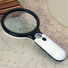 Handheld 45X Magnifying Reading Glass Lens Jewelry Loupe With 3 LED Light Pop#V