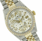 Rolex Men's Watch Datejust 16013 Two-Tone 36mm Silver Floral Dial Full Diamonds