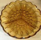 Amber Glass Round 3 Portion Relish Tray Dish