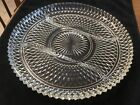 INDIANA GLASS DIAMOND POINT 3 PART, 12 INCH RELISH PLATE W/ Original Box