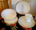 7 Pc LOT VTG ANCHOR HOCKING/FIRE KING WHITE SWIRL MILK GLASS DINNERWARE GOLD RIM