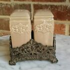 Taupe Drake Design Salt and Pepper Shakers in Scroll Resin Base Old World