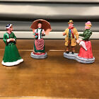 3 Used Christmas Village Victorian Accessories Figures Parasol Umbrella 1 Lemax