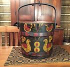 ANTIQUE VINTAGE PRIMITIVE STYLE HAND PAINTED FOLK ART WOOD BUCKET