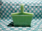 Jadeite Green Glass Picnic Basket Candy Dish with Lid in Excellent Condition