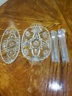 SlSet of STAR OF DAVID CLEAR GLASS  DIVIDED RELISH TRAY DISH , Relish Forks