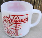 Federal Milk Glass Mug Cup Go Bananas Monkey