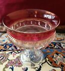 NICE RUBY RED GLASS THUMBPRINT PEDESTAL FOOTED COMPOTE WEDDING BOWL