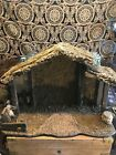 Large all wood Manger NATIVITY 20 x 15 x 9 Thatch Roof