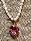 VTG 80s Swarovski pink heart pendant enhancer real pearl necklace SAL large