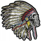 Native American Head Dress Skull Side Shot Large Back Patch 9 x 10 inch Handmade