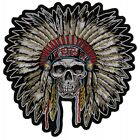 Native American Head Dress Skull Patch Front Shot 10 x 10 inch Embroidered new