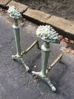 Antique Pair Ornate Cast Iron Fireplace Andirons - Great Look - Very Good