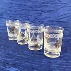 Set Of 4 White And Gold Highball Tumblers Vintage Mid Century Modern Glasses