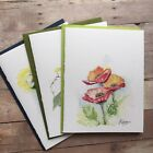 Hand Painted Watercolor Greeting Cards Set Of Three 3 Flowers