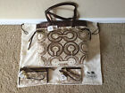 Coach Audrey OP Signature Swirl Shoulder Tote Wallet Wristlet Set