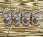4 Vtg Mid Century MCM LIBBEY Highball Glasses Fish Seahorses Atomic Gold White