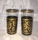 Culver Baroque Scroll Ebony Gold Glasses Tumblers Set of 2