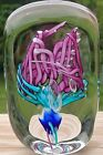Schmidt  Rhea Floral Pink Turquoise Blue and Clear Glass Paperweight 45
