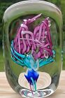 Lovely Schmidt Rhea Floral Pink Blue Clear Glass Paperweight 45 Signed Dated