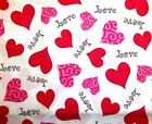 RED PINK FANCY VALENTINE 1 1 1 2 HEARTS LOVE ON WHITE COTTON FABRIC 1 2 YD