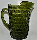 Avocado Green Indiana Glass Pitcher Whitehall  Cubist Ice Lip Spout Vintage
