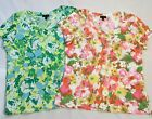 Talbots Floral Tops Large Pink Coral Medium Green Blue Short Sleeve Lot Of 2