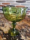 Vintage Indiana Glass Scalloped Green Tear Drop Pedestal Compote Bowl/Candy Dish