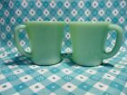 Vintage Fire King Jadeite D Handle Coffee Mugs x 2 in Excellent Condition