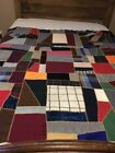 Antique Crazy Quilt Top With Embroidery: Velvet, Cotton, Wool Blocks -Never Used