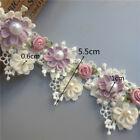 5x Vintage 3d Flower Pearl Rose Lace Trim Ribbon Wedding Applique Sewing Craft